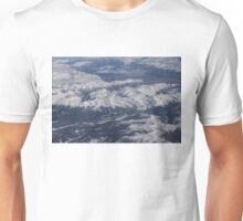 Flying Over the Snow Covered Rocky Mountains Unisex T-Shirt