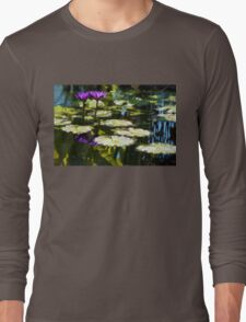 Waterlilies - Sunny Green and Purple Impressions Long Sleeve T-Shirt