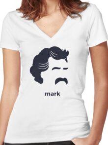 Mark Twain (Hirsute History) Women's Fitted V-Neck T-Shirt