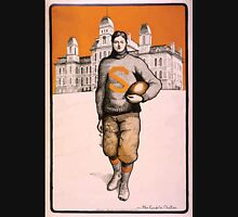 Artist Posters Syracuse football player full length standing facing front with Syracuse University behind him Mae Goodelle Chaffee 0230 Unisex T-Shirt