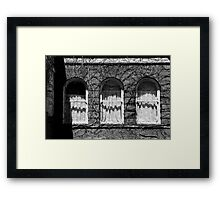 Harrington Inn Windows BW Framed Print