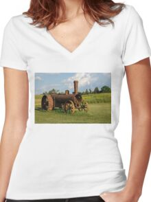 Antique And Rusty - a Vintage Iron Tractor on a Farm Women's Fitted V-Neck T-Shirt