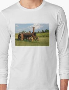 Antique And Rusty - a Vintage Iron Tractor on a Farm Long Sleeve T-Shirt