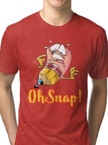 Funny Cartoon Oh Snap Broken Pencil Character Tri-blend T-Shirt