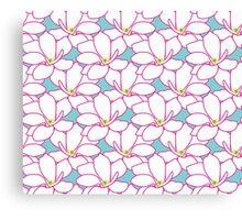 Takasaki Magnolia Full Bloom - Aqua & Pink Canvas Print