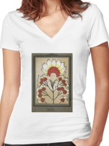 Red Flowers Bride Women's Fitted V-Neck T-Shirt