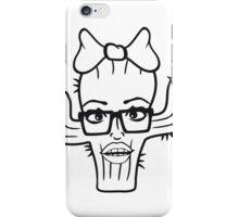 nerd geek hornbrille girl girl woman sexy hot pink bow female cactus iPhone Case/Skin