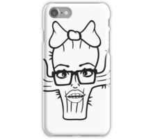 nerd geek hornbrille girl girl woman sexy hot pink bow female cactus iPhone Case/Skin