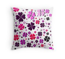Clovers and Stars Pink Throw Pillow