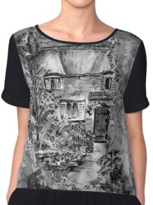 Thatched Cottage - Black & White Version of Original Painting  Chiffon Top