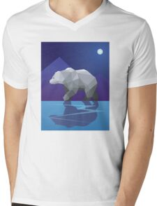 Geometric Polar Bear Mens V-Neck T-Shirt