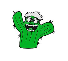 nerd geek face funny comic cunning hornbrille nerdy little green cactus, desert Photographic Print