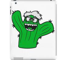 nerd geek face funny comic cunning hornbrille nerdy little green cactus, desert iPad Case/Skin