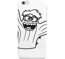 nerd geek face funny comic cunning hornbrille nerdy little green cactus, desert iPhone Case/Skin