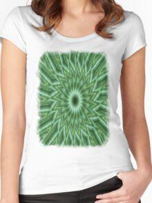 Green Stripes Kaleidoscope 10 Women's Fitted Scoop T-Shirt