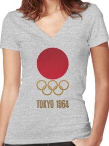 Japan Retro Tokyo Olympics 1964 Women's Fitted V-Neck T-Shirt