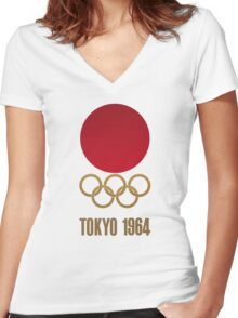 Japan Retro Tokyo Olympics 1964 Women's Fitted V-Neck T-Shirt