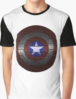 Metal Steve and Bucky Shield Graphic T-Shirt