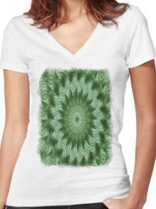 Green Stripes Kaleidoscope 9 Women's Fitted V-Neck T-Shirt