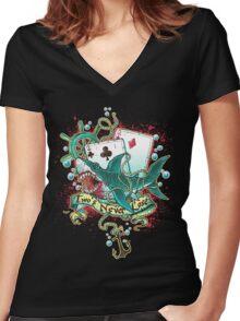 Poker Shark (black)  Women's Fitted V-Neck T-Shirt