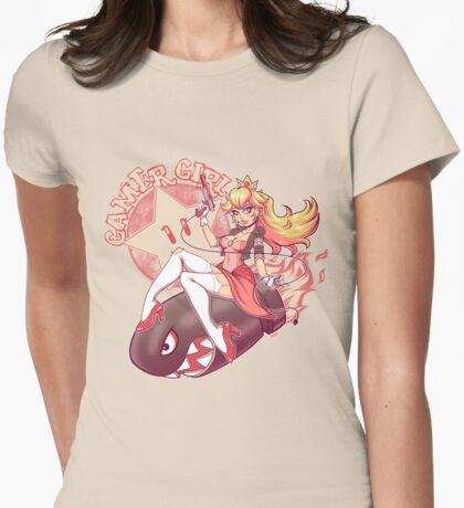 Gamer Girl Peach Womens Fitted T-Shirt