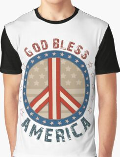 God Bless America Stars And Stripes Peace Sign Graphic T-Shirt