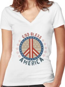 God Bless America Stars And Stripes Peace Sign Women's Fitted V-Neck T-Shirt