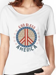 God Bless America Stars And Stripes Peace Sign Women's Relaxed Fit T-Shirt