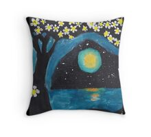 Tree, Ocean, and Moon Throw Pillow