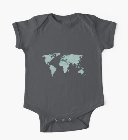 Mint Green Watercolor World map One Piece - Short Sleeve