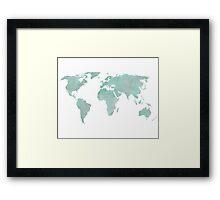 Mint Green Watercolor World map Framed Print