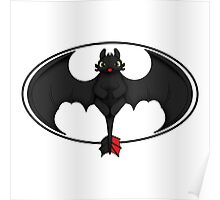 Toothless White Batman Symbol Transparent Poster