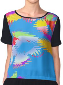 Patches of Color Blue - Abstract - Digital Art Chiffon Top