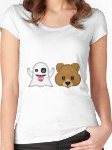 Ghost Bear 53 Emoji Women's Fitted Scoop T-Shirt