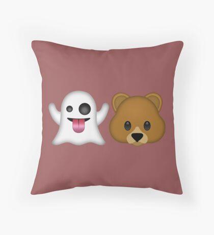 Ghost Bear 53 Emoji Throw Pillow