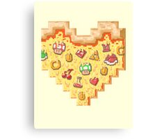 Power-Up Pixel Heart Pizza Canvas Print
