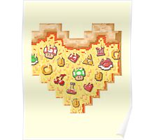 Power-Up Pixel Heart Pizza Poster