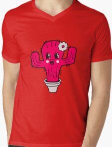 girl pink girl woman female sweet cute little cactus face comic cartoon baby child Mens V-Neck T-Shirt