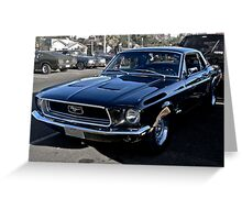 Black Ford Mustang Greeting Card