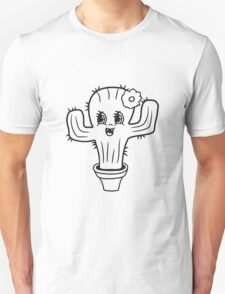 girl pink girl woman female sweet cute little cactus face comic cartoon baby child Unisex T-Shirt