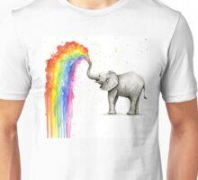 Baby Elephant Spraying Rainbow Unisex T-Shirt