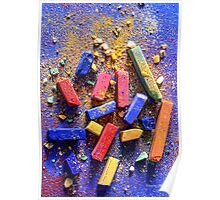 Colored chalk crumbled on board Poster