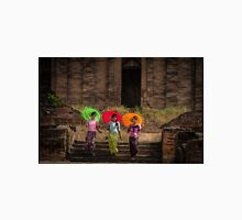 novice Buddhist monks with parasols at the Bagan pagoda temples, Myanmar Unisex T-Shirt