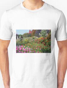 Beautiful colorful park with many flower arrangements. Unisex T-Shirt