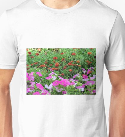 Beautiful colorful red and purple flowers in the garden. Unisex T-Shirt