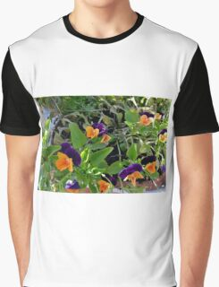 Flowers with orange and purple petals in pots. Graphic T-Shirt