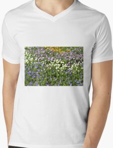 Many small flowers in the garden. Mens V-Neck T-Shirt