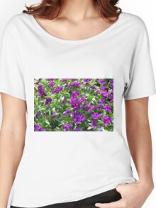 Beautiful purple flowers in the garden. Natural background. Women's Relaxed Fit T-Shirt