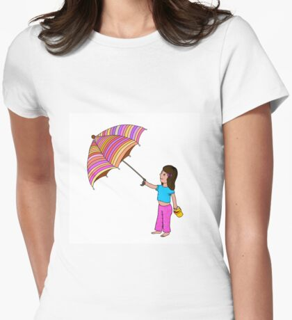 Girl with umbrella Womens Fitted T-Shirt