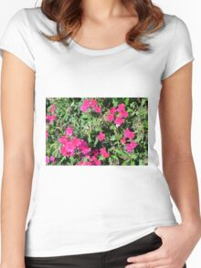 Beautiful pink flowers in the garden. Natural background. Women's Fitted Scoop T-Shirt